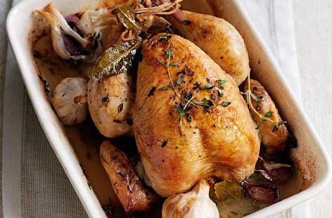 Pot roasted chicken with garlic