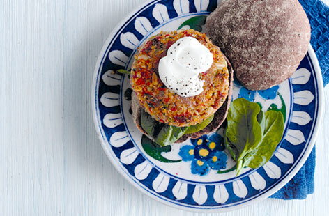 Chickpea and roasted red pepper burgers HERO