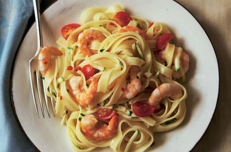 Chilli prawns with courgette and tagliatelle HERO
