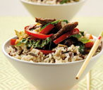 Chinese beef stir fry with wild rice