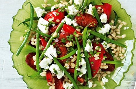Chorizo and feta salad with roasted peppers HERO