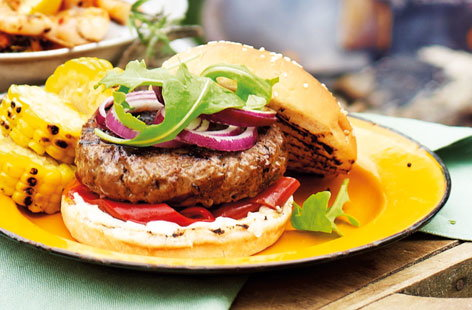 Chorizo burgers  with rocket, aioli  and roasted peppers HERO