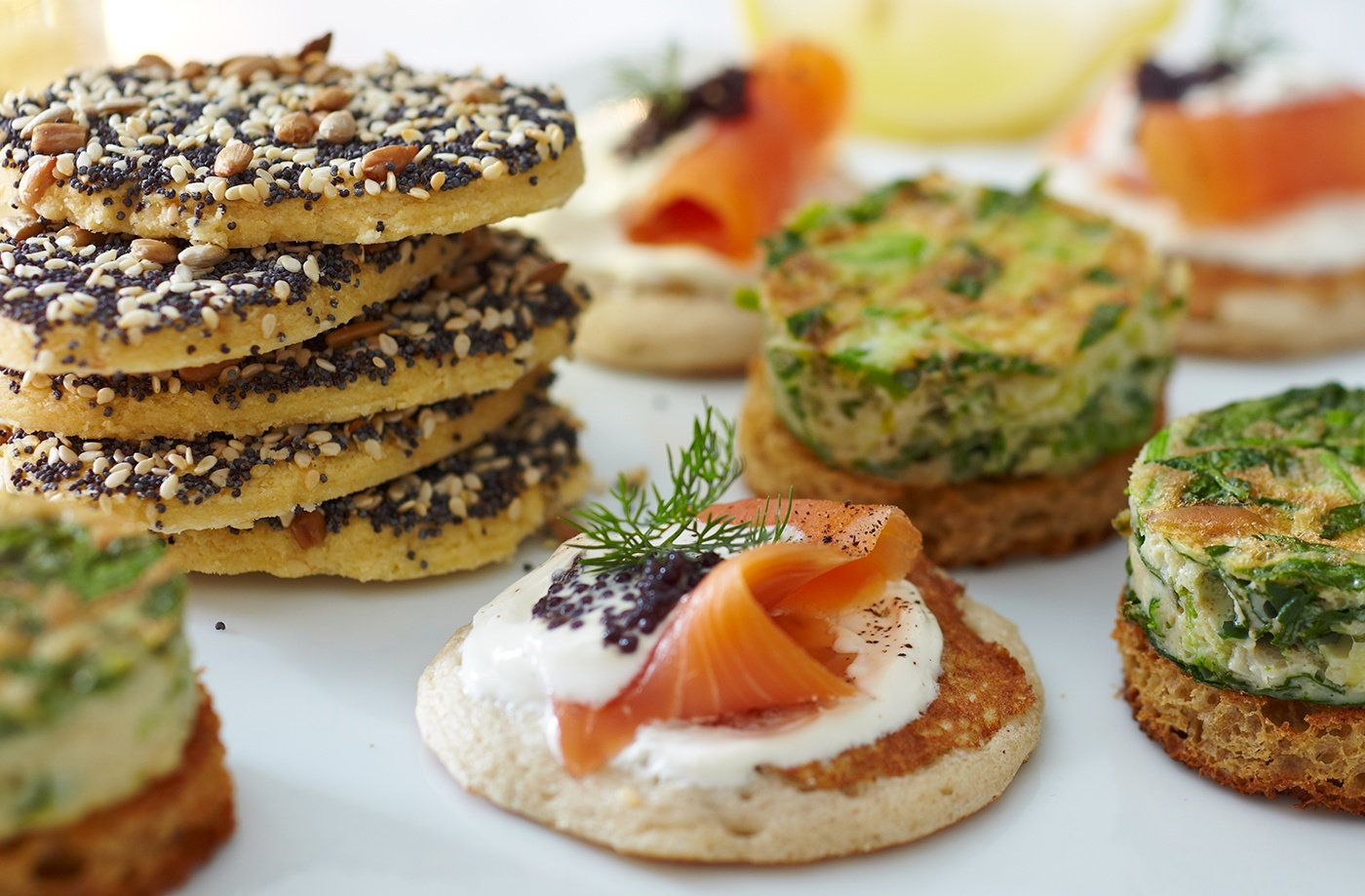 Gluten free blinis with smoked salmon tesco real food for Breakfast canape