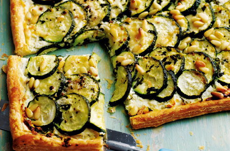 Courgette, basil and ricotta tart with pine nut