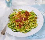Courgetti with pesto, Parmesan crumbs and Parma ham
