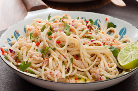 Crab linguine with lime