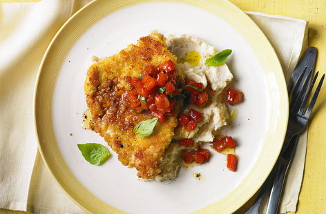Crispy Italian pork with salsa and bean mash HERO