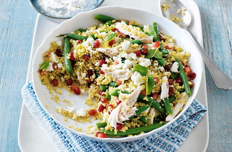 Chicken, feta and pomegranate salad with mint yogurt