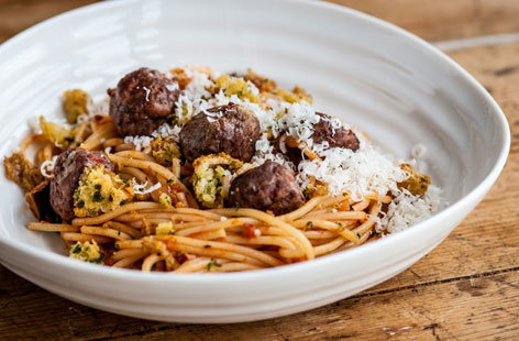 Dominic Chapman's spaghetti and meatballs with mini garlic bites