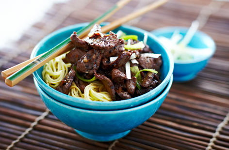 Sesame lamb with garlic and ginger