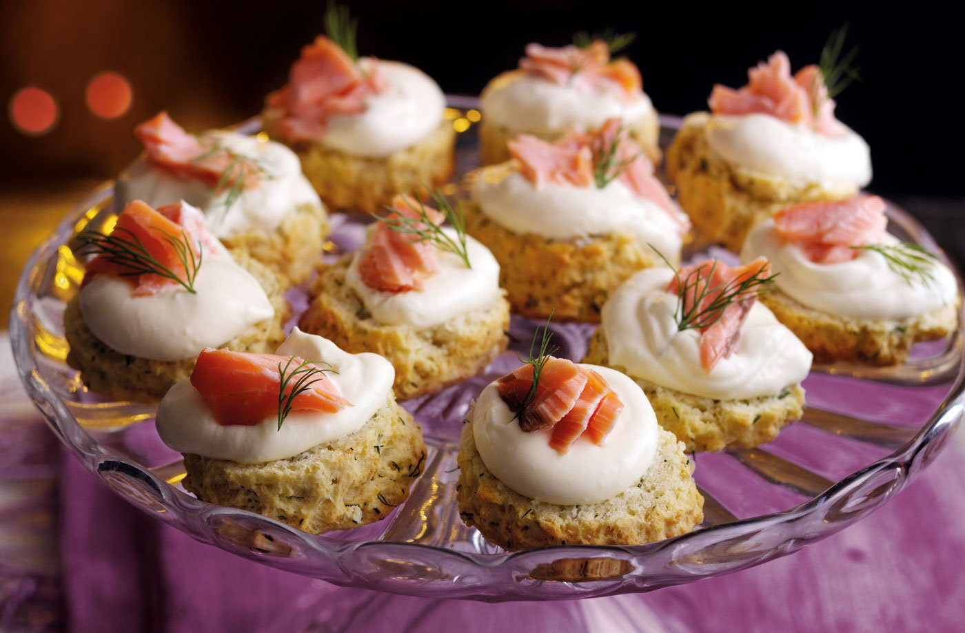 Dill scones with hot smoked salmon and horseradish cream for Christmas canape