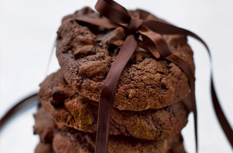 Double dark chocolate and ginger cookies
