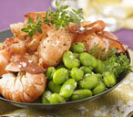 Prawns with broad beans and lemon