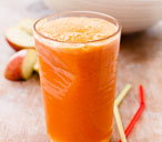 Energiser drink with apple, carrot and oranges