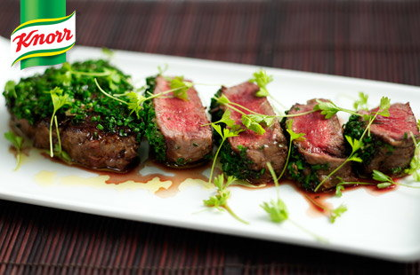 Fillet steak with mustard and chives recipe (t)
