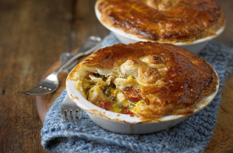 Fish pies with leeks and chorizo HERO