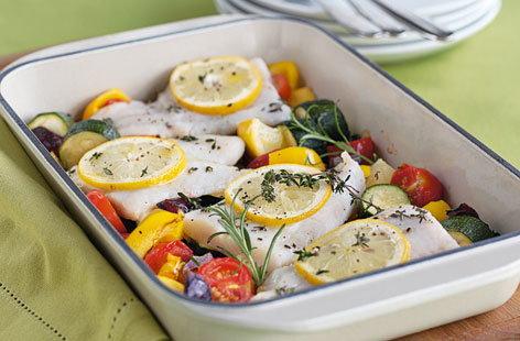 Fish traybake tesco real food for How to season fish for baking