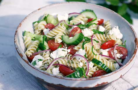 Greek pasta salad hero