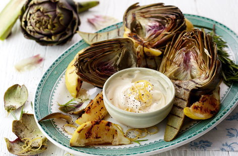 Griddled artichokes with lemon aïoli