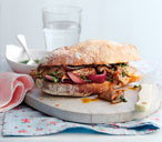 Griddled lamb sandwich