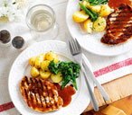 Grilled pork steaks with ginger and orange sauce THUMB