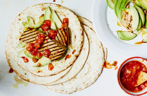 Grilled tofu wraps with salsa and avocado