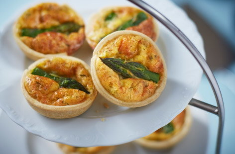 Mini asparagus and Gruyere quiches