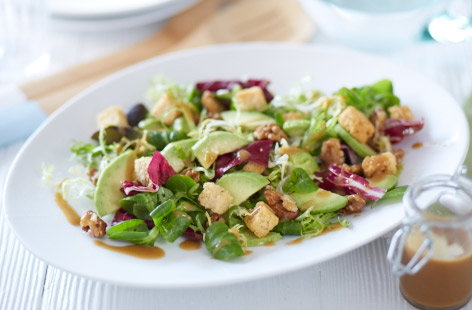 Avocado, walnut and crispy leaf salad
