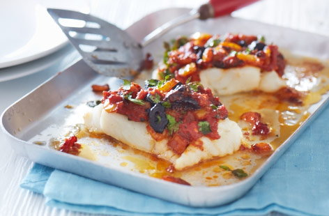 Baked cod with a tangy topping