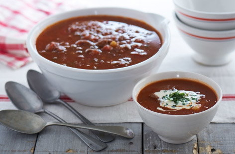 Beef and lentil goulash soup