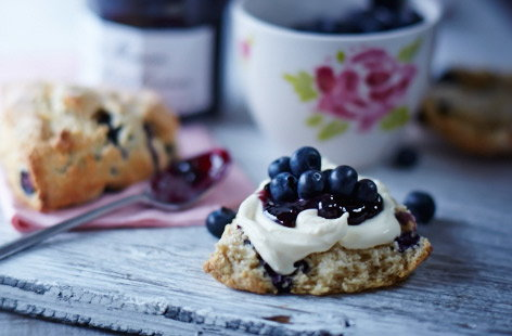 Blueberry and clotted cream scones