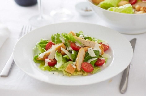Caesar style salad with crispy Quorn fillets