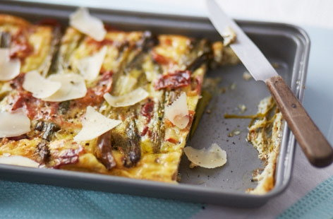 Charred asparagus and prosciutto frittata