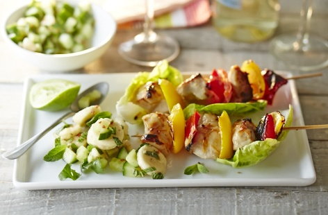 Chicken kebabs with banana salsa