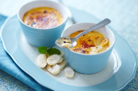 Coconut and banana crème brulee