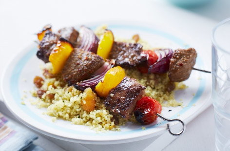 Lamb kebabs with lemony couscous