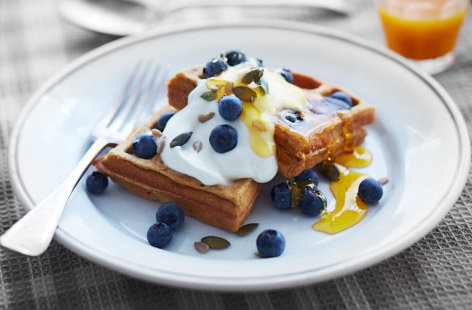 Super food waffles with blueberries