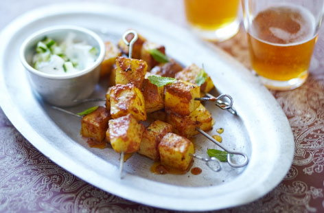 Tikka potato skewers