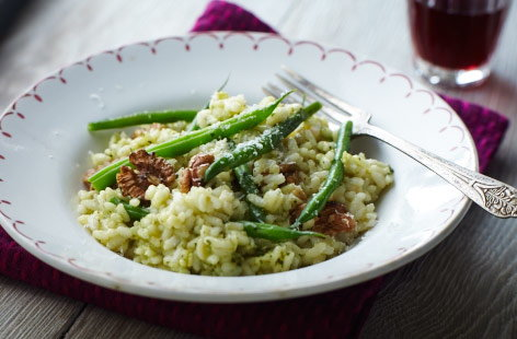 Walnut and pesto risotto
