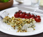 Herb-crusted cod