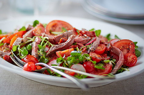 Trio of tomato roast beef salad
