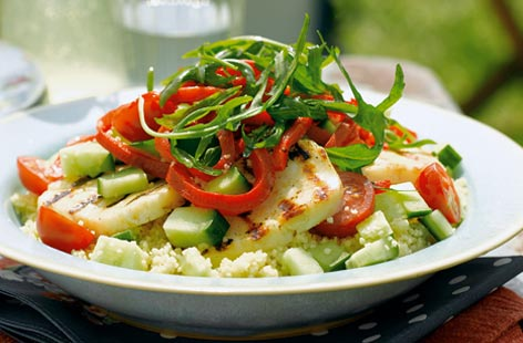 Halloumi and cous cous salad