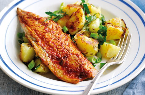 Harissa-spiced mackerel with cumin potato hash
