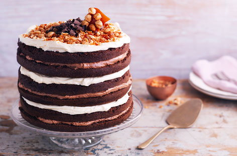 Hazelnut and double chocolate cake