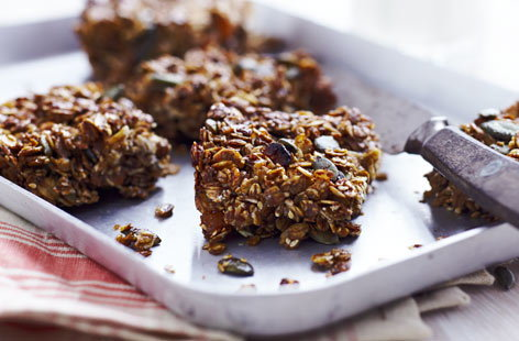 Healthy ApricotandPumpkinseedFlapjacks Th