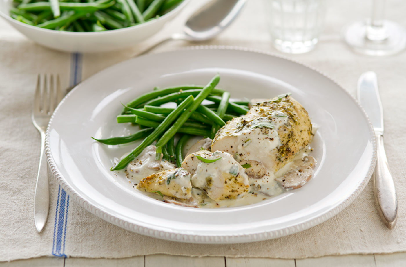 Healthy living garlic and herb chicken with creamy ...