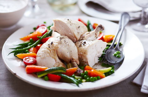 Poached chicken with summer vegetables