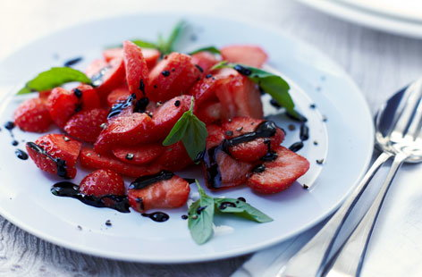 Strawberry carpaccio with balsamic glaze   Tesco Real Food