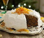 Iced Christmas cake with candied orange