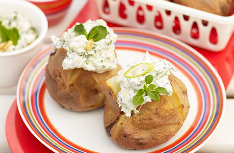 Jacket potatoes with Eastern minty yogurt